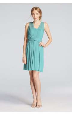 Pretty Bridesmaid Short Mesh Convertible Dress with Pleated Detail in Extra Length 2XLF18092
