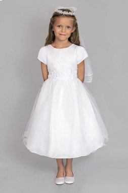 Satin and Tulle Beaded Communion Dress 377UA