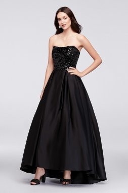 Shinning 40353D Style Long Sequined Satin Ball Gown