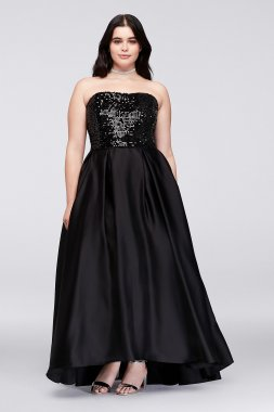 Sequined Satin Strapless Plus Size 40353DW Ball Gown