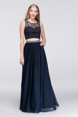 Lace Crop Top and Jersey Skirt Two-Piece Dress for Prom Party 4069SJ8S