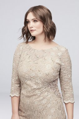 Beaded Sequin Lace Plus Size Short Sheath Dress 4122029