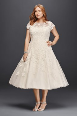 Tea Length Cap Sleeves A-line 4XL8CMK513 Bridal Gown
