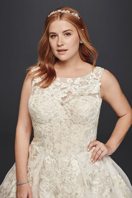 Extra Length Tank Lace Wedding Dress with Beads Style 4XL8CWG658