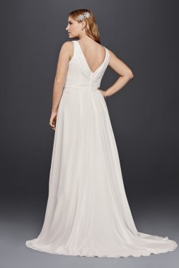 4XL9V3806 Tank Plus Size Wedding Dress with Sweetheart Neck