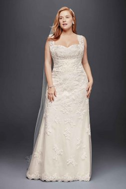 4XL9WG3816 Plus Size Tank Beaded Lace Mermaid Wedding Dress with Scalloped Edges