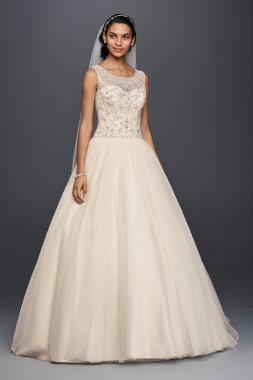 New Etra Length 4XLCV745 Illusion Tank Ball Gown Wedding Dress with Beads Embellished Bodice