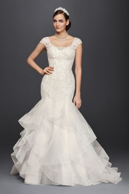 4XLCWG750 Style Extra Length Long Trumpt Illusion Lace Wedding Dresses with Cap Sleeves