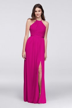Halter Neck Long A-line Side Slit 4XLF19608 Style Chiffon Bridesmaid Dress