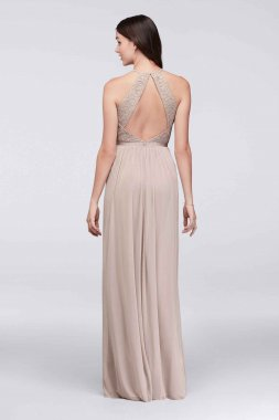 High Neck Metallic Lace and Mesh 4XLF19608M Style Bridesmaid Dress