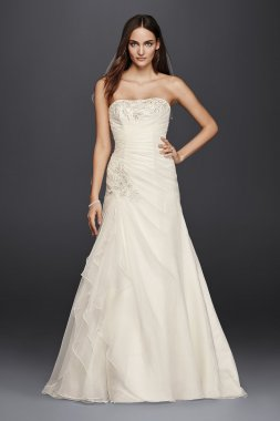 Strapless 4XLWG3807 Ruched A-Line Bridal Dress with Appliques
