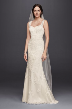 4XLWG3816 Extra Length Sweetheart Sheath Beaded Lace Appliqued Wedding Dress with Tank Straps
