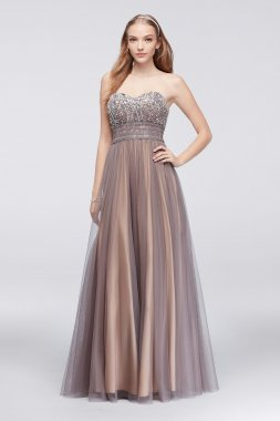 Newest Long A-line Strapless Mesh Ball Gown for Prom Girls 56210