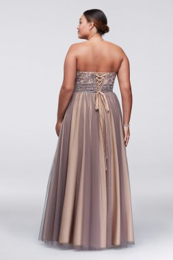 Plus Size Lace Up Floor Length A-line Ball Gown for Prom 56210W