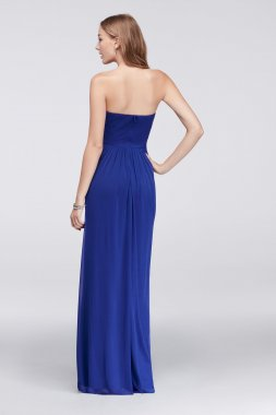 Strapless Sweetheart Neck Chiffon Long A-line Beaded 57019 Style Prom Dress