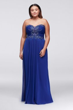 Plus Size 57019W Beads Embellished Floor Length Chiffon Prom Gown