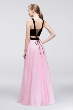 Beaded Halter Neck Long Two Piece 57323 Jersey and Tulle Dress