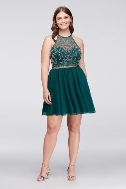 Plus Size Beaded Illusion Homecoming Dress with Teardrop Back Style 57485W