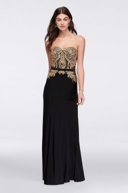 New Strapless Long Embroidered Bodice 58098D Style Dress with Illusion Sides
