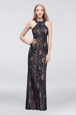 Elegant New 58250D Style Long Allover Lace Prom Gown with Sexy Open Back