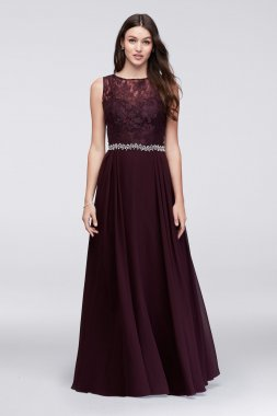 Timeless New Coming 58471D Style Long A-line Open Back Lace and Chiffon Dress