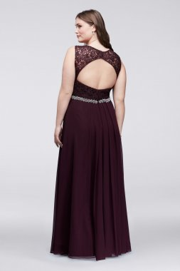 Plus Size 58471DW Long A-line Lace and Chiffon Party Gown