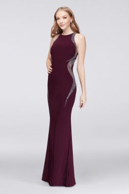 Elegant 58785 Style Long Fitted Jersey Party Gown with Unique Crystal Side