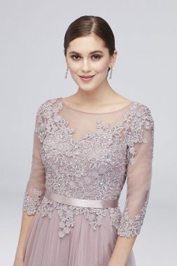 3/4 Sleeve Embroidered Lace and Tulle Ball Gown 59535D