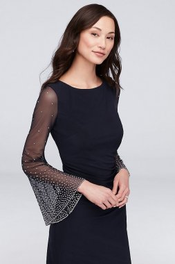 Beaded Bell Sleeve Matte Jersey Cocktail Dress 59754D