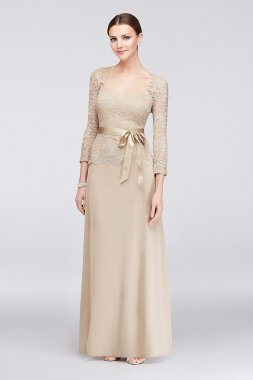 Long Sleeve Lace and Chiffon Sweetheart Gown 648758