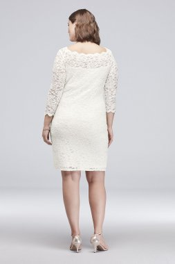 3/4 Sleeve Illusion Lace Plus Size Cocktail Dress 648929W