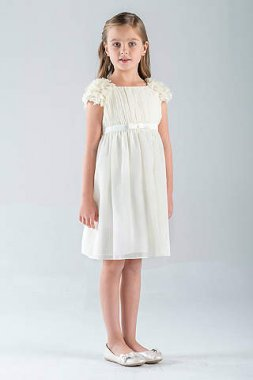 Petal-Sleeve Chiffon A-Line Flower Girl Dress