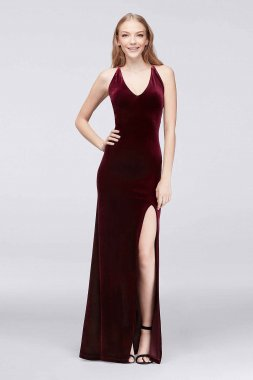 H734329 Pattern Sexy Long V-Neck Velvet Sheath Party Dress