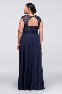 Plus Size Long Cap Sleeve Crystal Lace Appliqued Gown Style 758257D