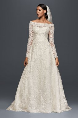 Elegant Long Sleeve Off the Shoulder Lace Appliqued A-line 7CWG765 Style Bridal Dresses