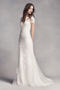7VW351312 Style Petite Size Long Fitted Cap Sleeve Lace Wedding Dress