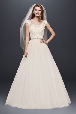 Petite Tulle Ball Gown with Lace Illusion Neckline Style 7WG3741