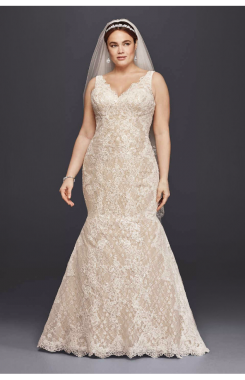 8CWG747 Pattern Lace Appliqued Long Trumpet Wedding Dresses Plus Size