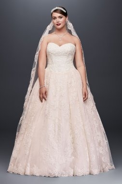 Plus Size Strapless Sweetheart Neckline Lace Appliqued 8CWG749 Style Ball Gown