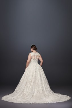 Lace Plus Size Wedding Dress with Pleated Skirt 8CWG780