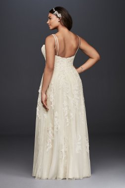 Plus Size A-line Double-straps Lace Embroidered 8NTMS251177 Bridal Gown