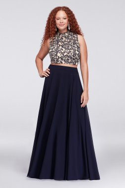 Embroidered Crop Top and Chiffon Skirt Plus Size 9560AM7W