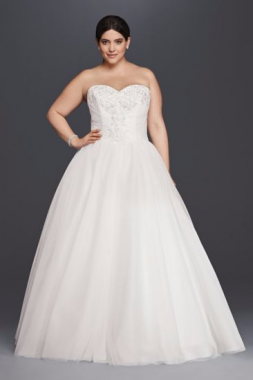 9NTWG3804 Style Plus Size Strapless Sweetheart Neckline Tulle Ball Gown Wedding Dress