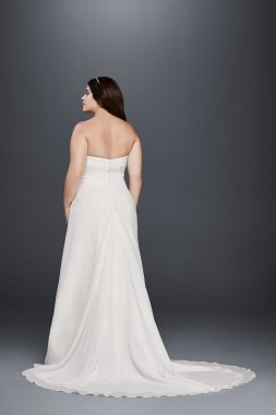 Simple Style 9OP1301 Strapless Plus Size A-line Bridal Dress with Beaded Waist