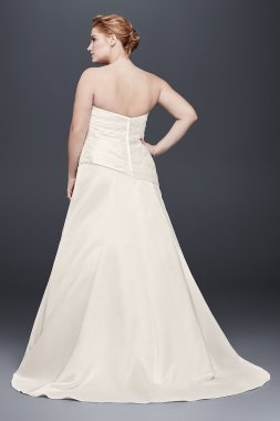Plus Size Strapless Drop Waist Pleated Satin 9OP1305 Style Bridal Dress