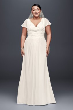 Plus Size Flutter-sleeve Long Chiffon Bridal Dresses 9OP1307