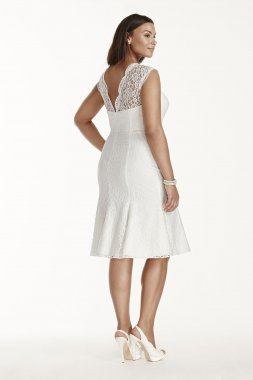 Plus Size Short Lace Cap Sleeve Short Bridal Dress 9SDWG0207