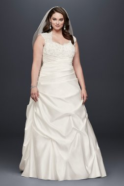Cap Sleeved Satin Side-Draped A-Line Gown Style 9T3090