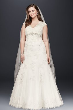 Cap Sleeve Lace Over Satin Gown with Illusion Back Style 9T3299