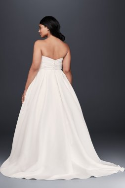 Strapless Long A Line Faille Empire Waist Pocket Plus Size Bridal Wedding Dress 9WG3707